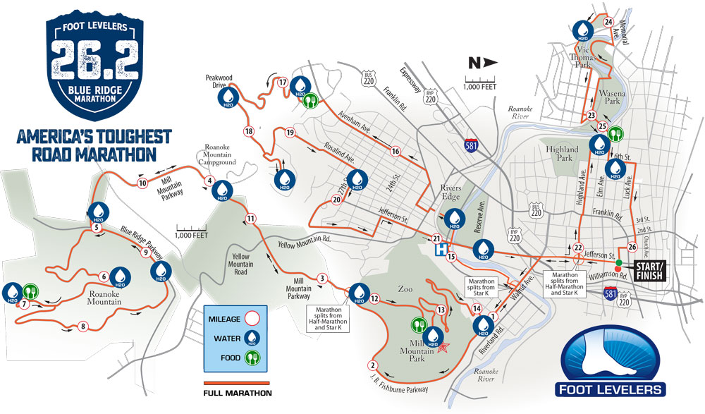 Blue Ridge Marathon Course map